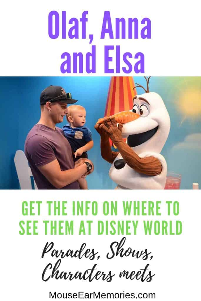 Elsa, Anna and Olaf at Disney World, where can you find them and what shows and parades are they in? Check out this guide for your next Disney World Trip!